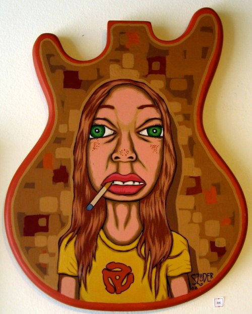 old painting, acrylic on guitar body by Jeremy Szuder